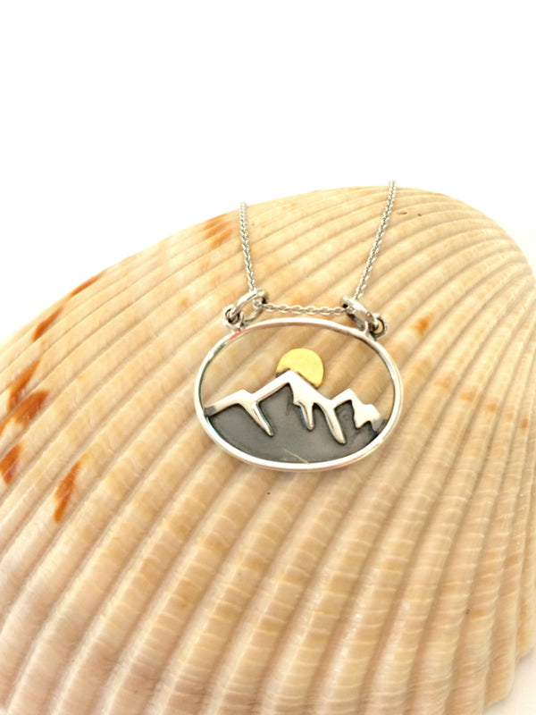 Mountain Sunrise Necklace | Sterling Silver Pendant Chain | Light Years