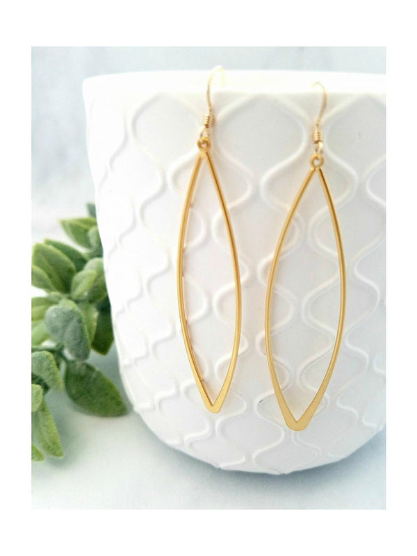 Long Matte Marquis Dangles | Gold Filled Earrings USA | Light Years
