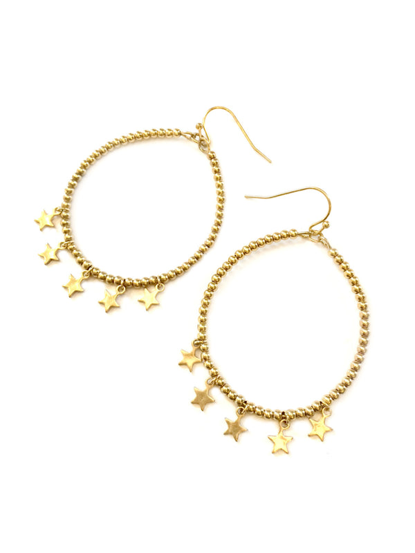 Beaded Star Statement Earrings | Gold Plated Dangles | Light Years