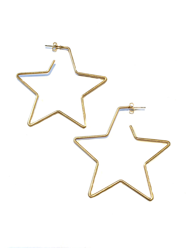 Star Post Hoops | Gold Plated Stud Earrings | Light Years Jewelry