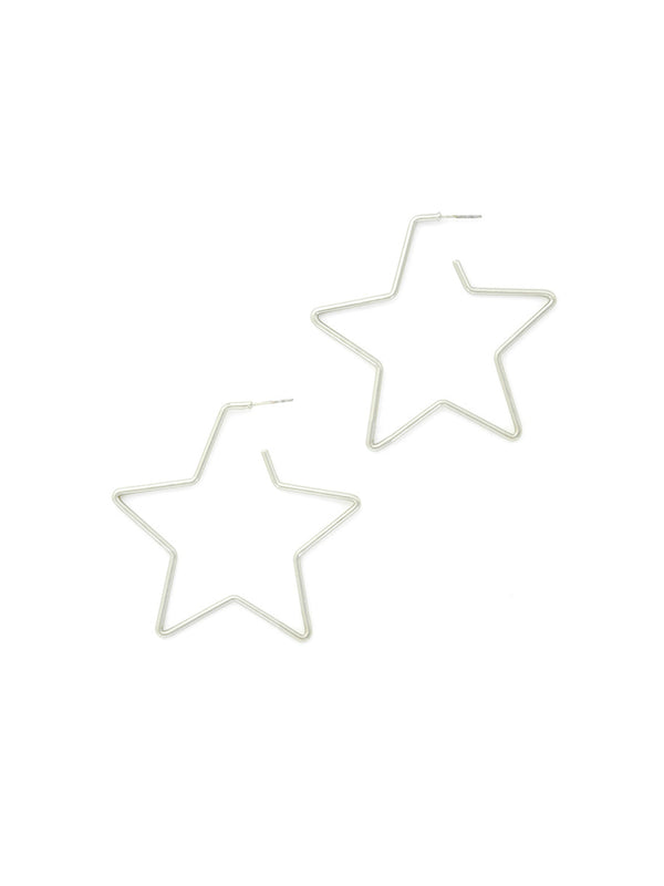 Star Post Hoops | Silver Plated Stud Earrings | Light Years Jewelry