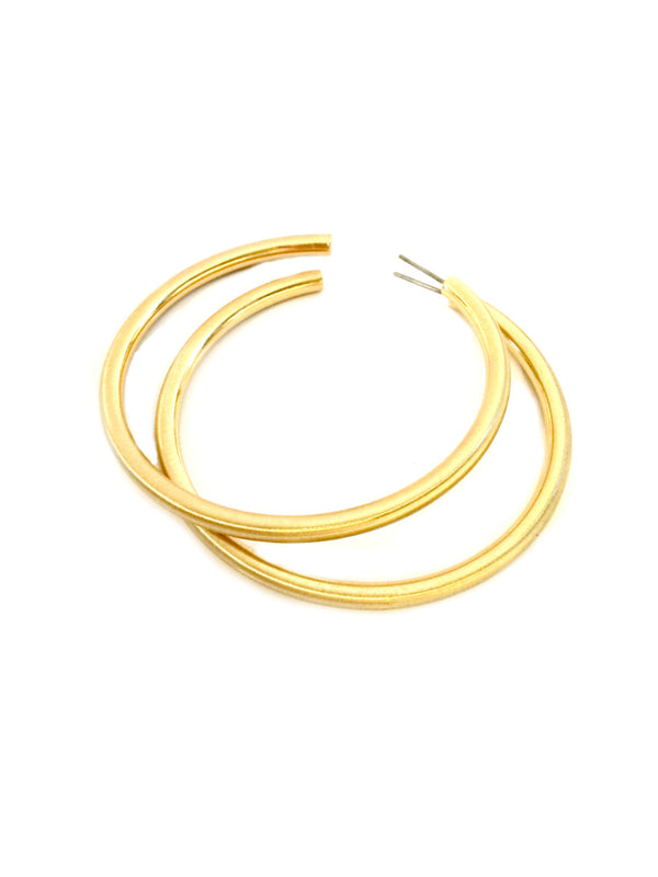 Satin Tube Hoops | Gold Plated Posts Earrings | Light Years Jewelry