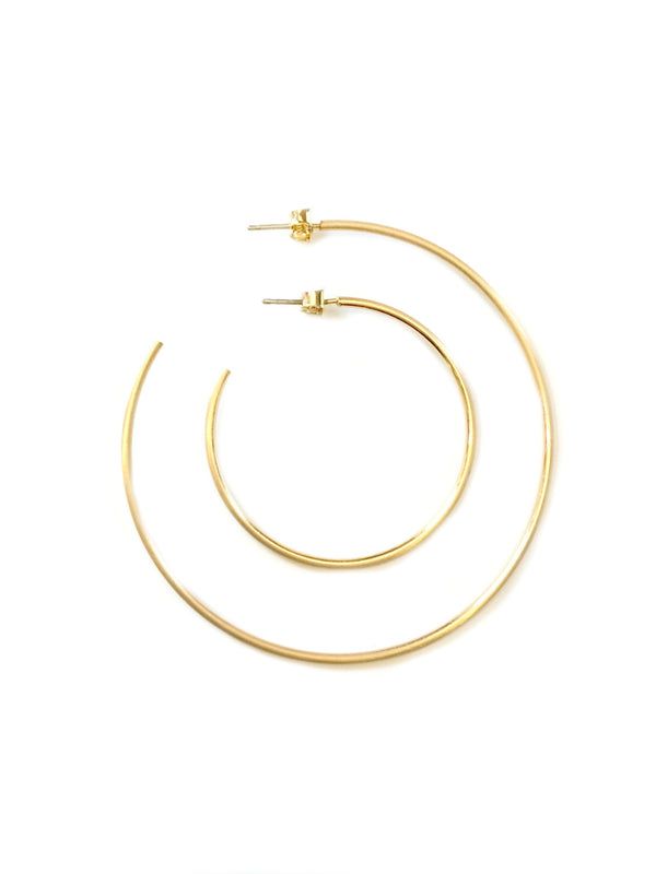 Matte Gold Satin Hoops | Gold Plated Earrings | Light Years Jewelry