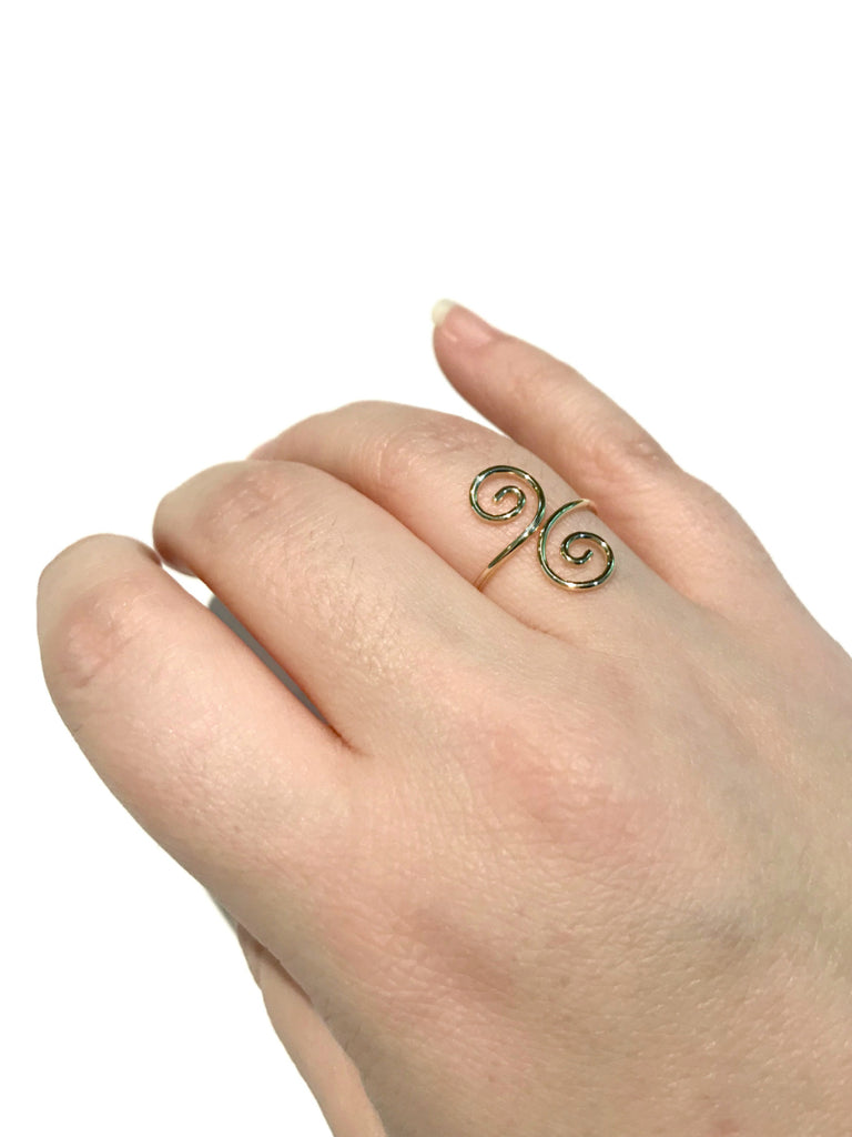Double Spiral Ring | 14kt Gold Filled Size 5 6 7 8 9 USA | Light Years