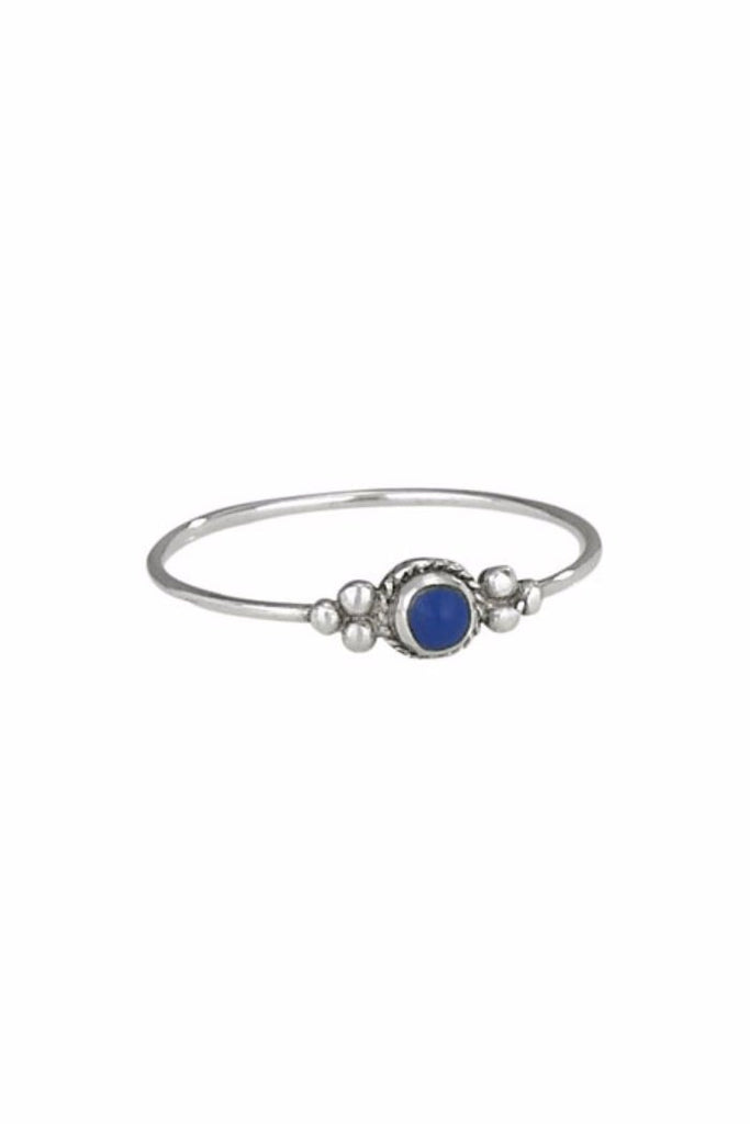 Lapis Dot Ring | Sterling Silver Stone Band Sizes 6 7 8 | Light Years
