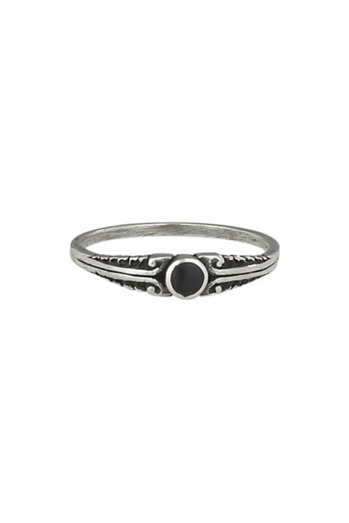 Onyx Swirl Ring | Sterling Silver Stone Band | Light Years Jewelry