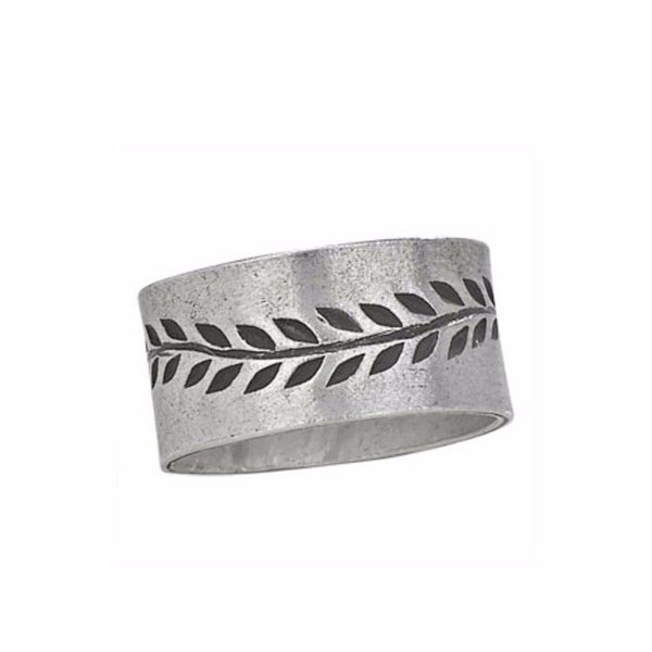 Etched Vine Band | Sterling Silver Wide Ring Size 7 8 9 | Light Years