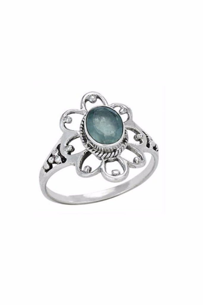 Apatite Flower Ring | Sterling Silver Stone Size 6 7 8 9 | Light Years