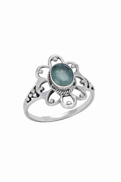 Apatite Flower Ring | Sterling Silver Stone Size 6 7 9 | Light Years