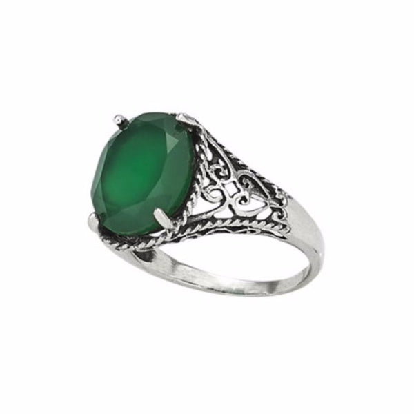 Green Agate Filigree Ring | Sterling Silver Size 6 7 8 9 | Light Years