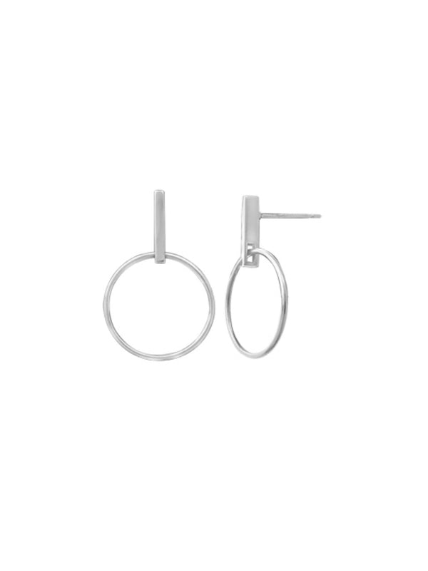 Bar & Ring Post Earrings | Sterling Silver Studs | Light Years Jewelry