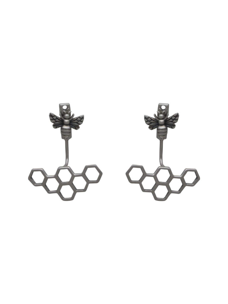 Bee & Hive Ear Jacket | Sterling Silver Studs Earrings | Light Years