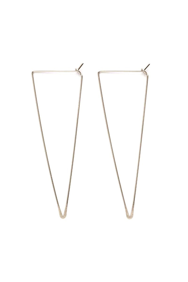 Elongated Triangle Hoops | Handmade Silver Earrings | Light Years Jewelry