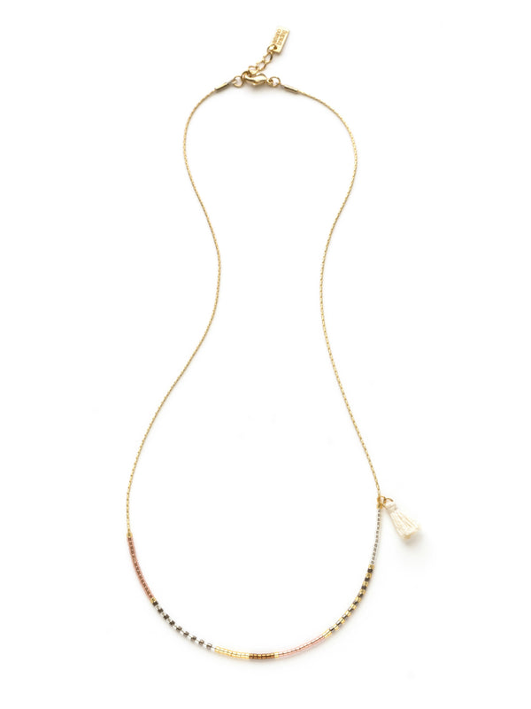 Asymmetrical Beaded Necklace | Gold Plated Chain Tassel | Light Years