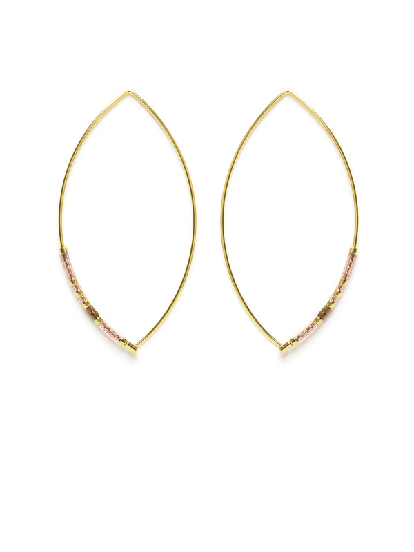 Seed Beaded Marquis Hoop Earrings | Handmade USA | Light Years Jewelry