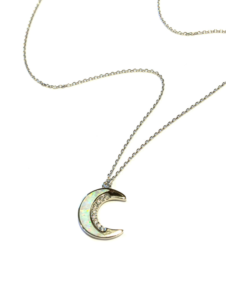 Opal CZ Crescent Moon Necklace | Sterling Silver Vermeil | Light Years