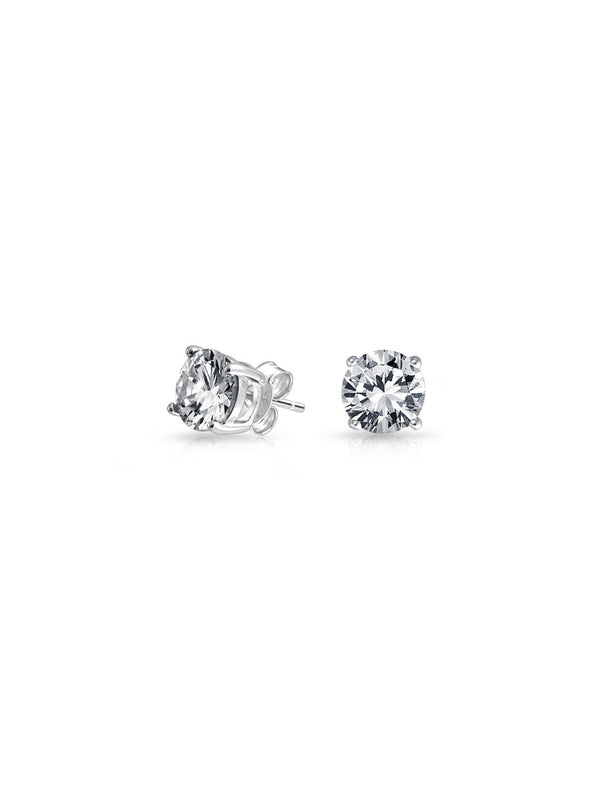 Round CZ Posts | Sterling Silver Rhodium Stud Earrings | Light Years