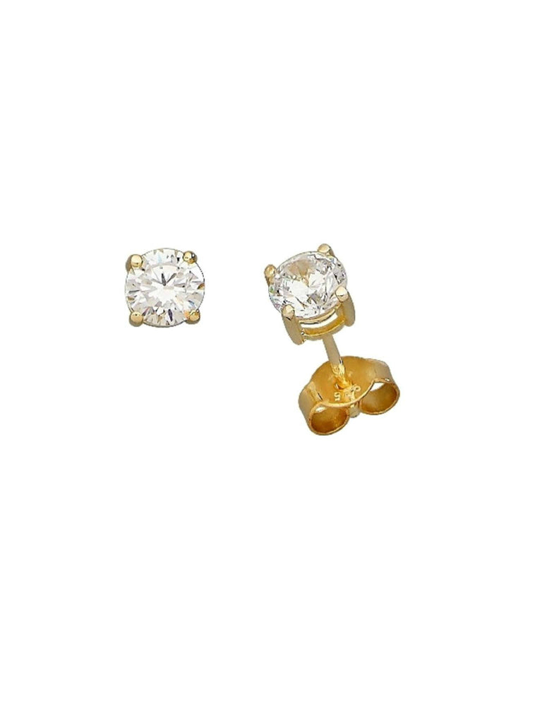 Gold Vermeil Round CZ Posts | Cubic Zirconia Studs Earrings | Light Years