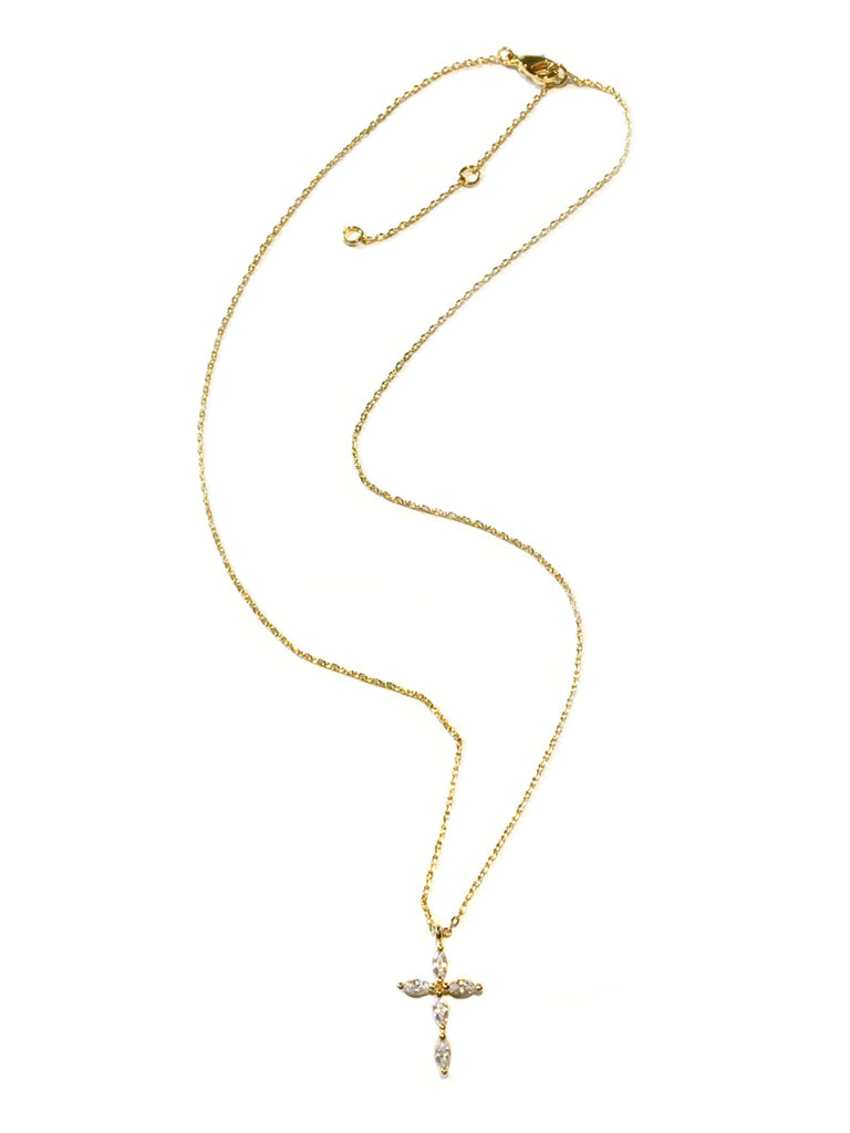 Elegant CZ Cross Necklace | Gold Plated Pendant Chain | Light Years