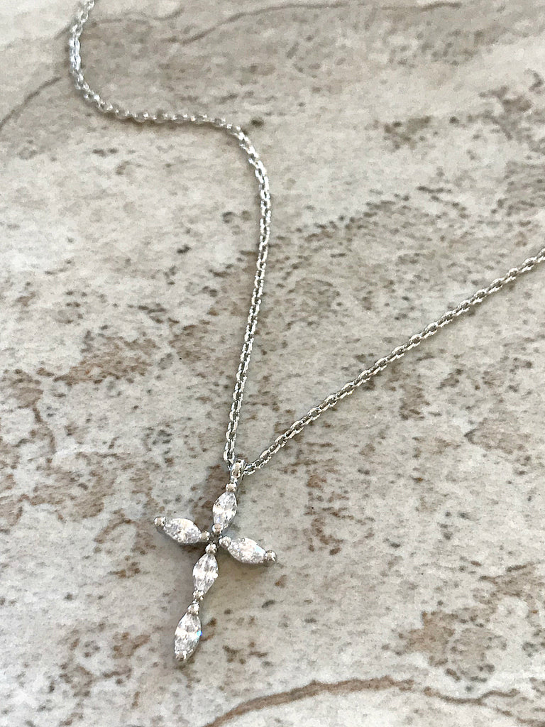 Elegant CZ Cross Necklace | Silver Plated Pendant Chain | Light Years