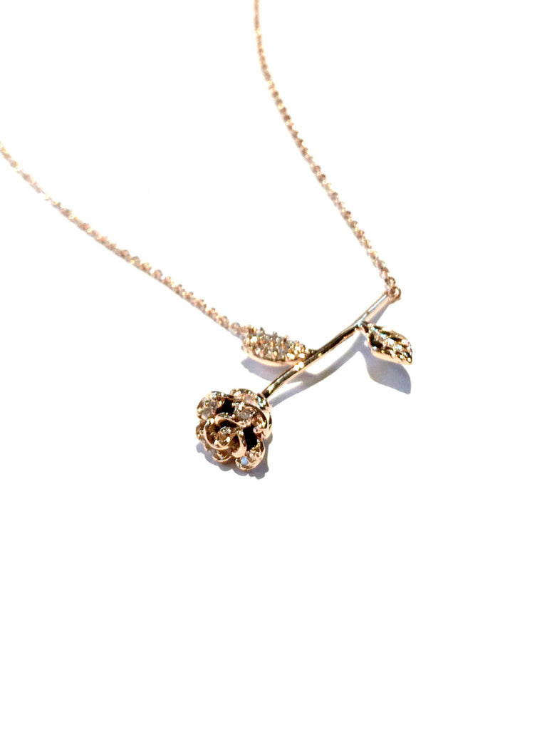 CZ Accented Rose Necklace | Gold Plated Chain Pendant | Light Years