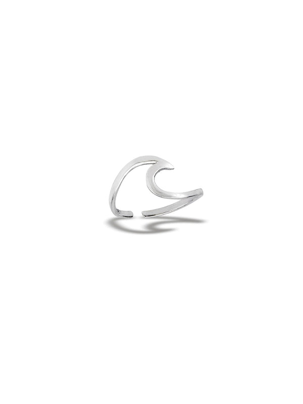 Curling Wave Toe Ring | Adjustable Sterling Silver | Light Years Jewelry