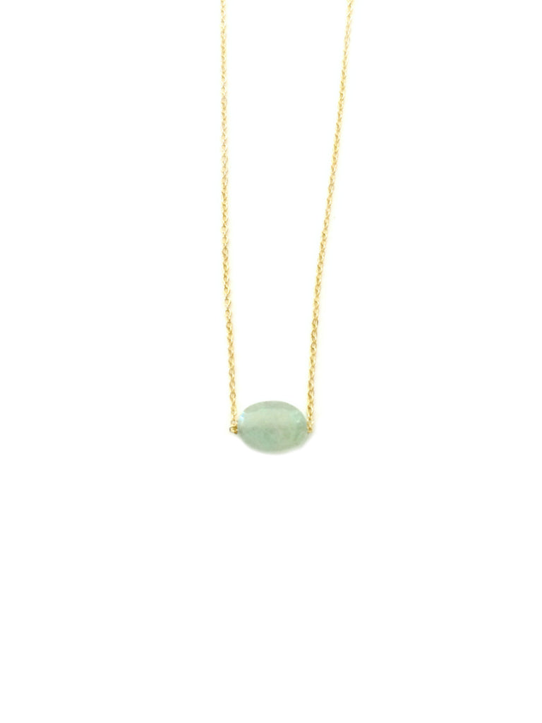 Dainty Oval Gemstone Necklace | Gold Plated Aquamarine | Light Years