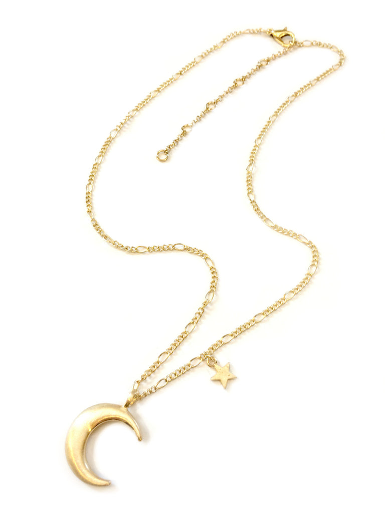 Moon & Star Charm Necklace | Gold Plated Chain | Light Years Jewelry