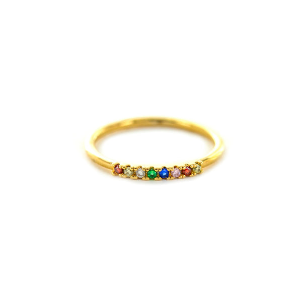 Rainbow CZ Band Ring | Size 6 7 Gold Plated | Light Years Jewelry