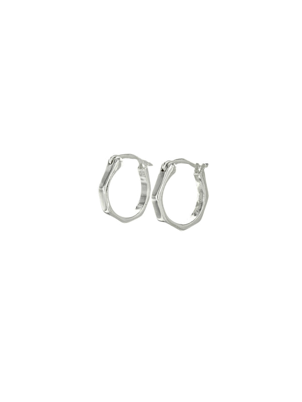 Small Hexagonal Hoops Earrings | Gold or Silver Plated | Light Years