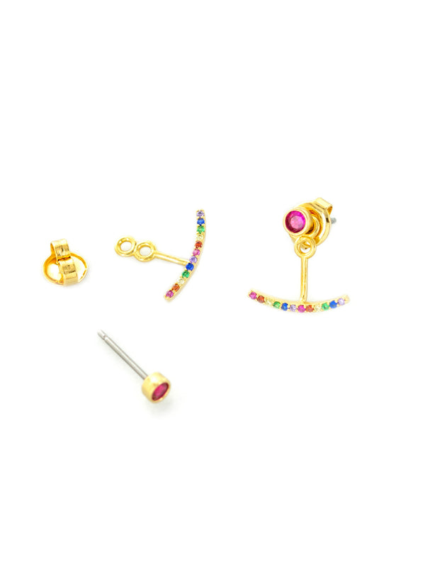 Rainbow CZ Ear Jacket | Gold Plated Studs Earrings | Light Years Jewelry