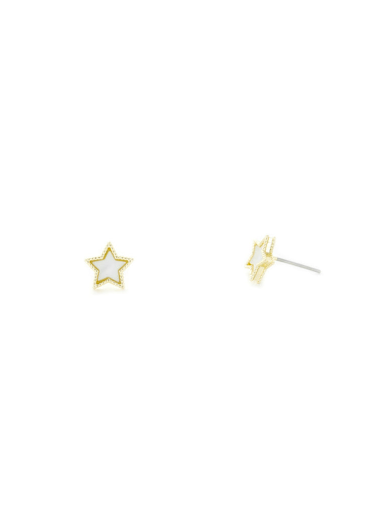Celestial Mother of Pearl Post Earrings | Gold Plated | Light Years