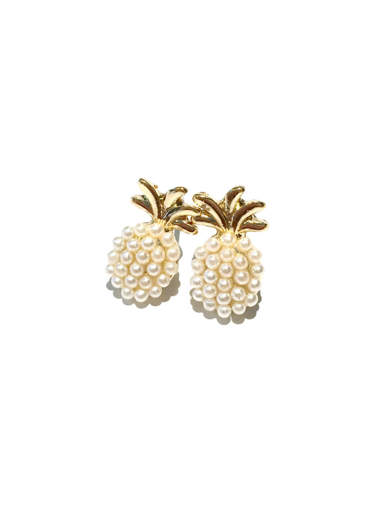 Pearl Pineapple Posts | Gold Plated Stud Earrings | Light Years Jewelry