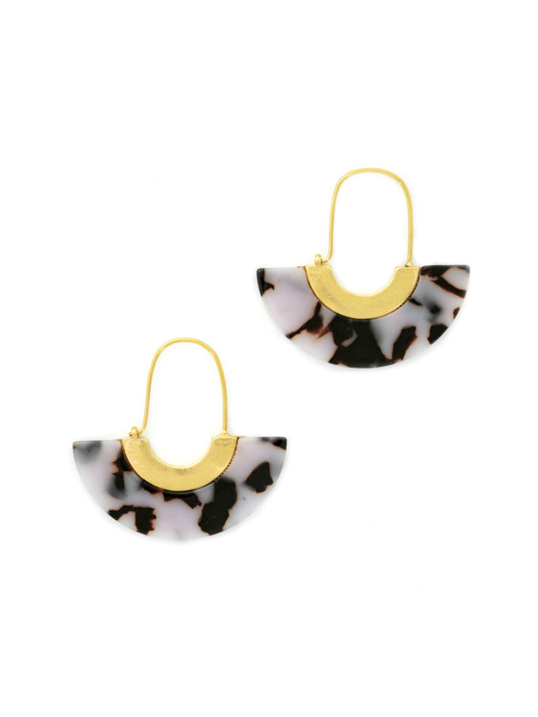 White Tortoise Crescent Hoops | Gold Plated Earrings | Light Years