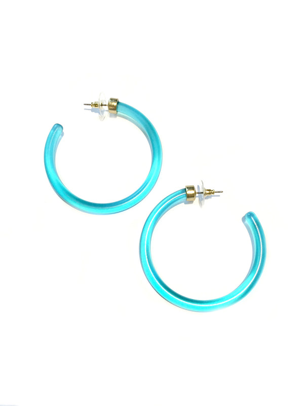 Trendy Frosted Blue Acrylic Hoops | Steel Posts | Light Years Jewelry