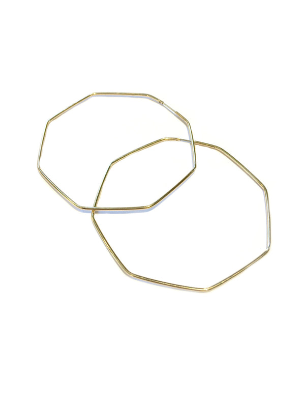 Gold Hexagon Endless Hoops | Trendy Geometric Earrings | Light Years