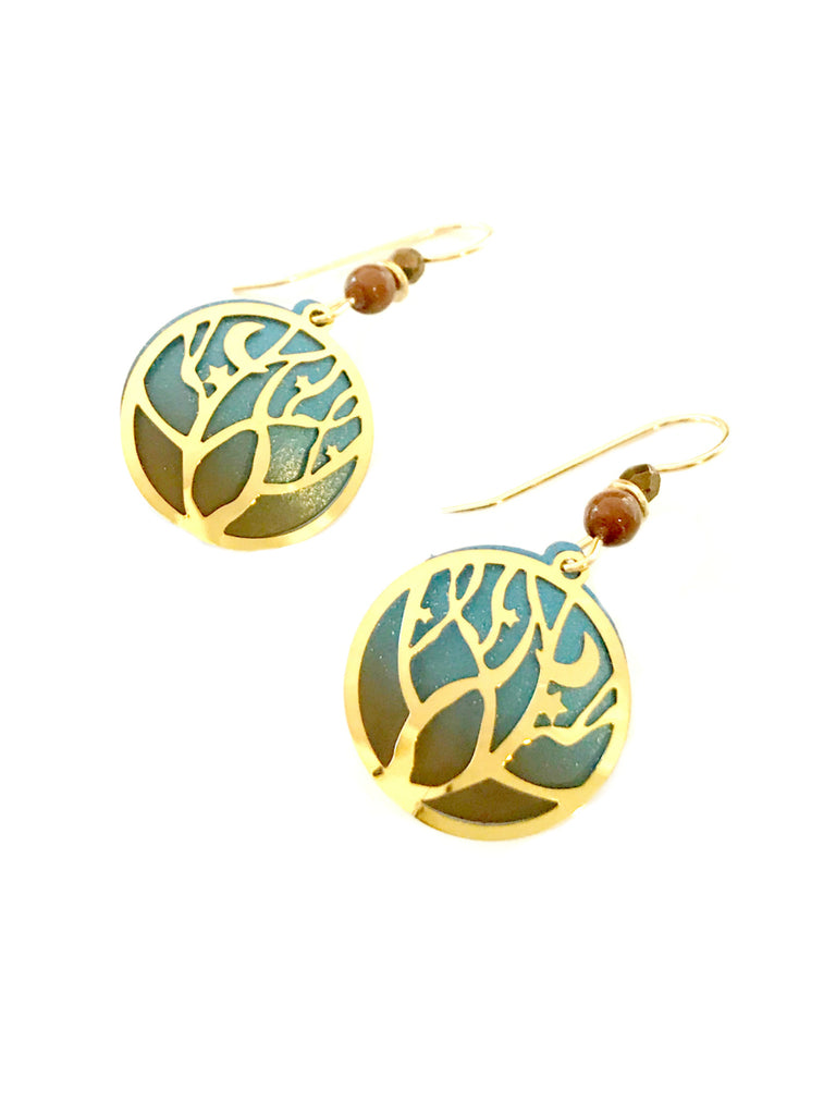 Tree, Moon & Stars Dangles Adajio | Gold Filled Earrings | Light Years