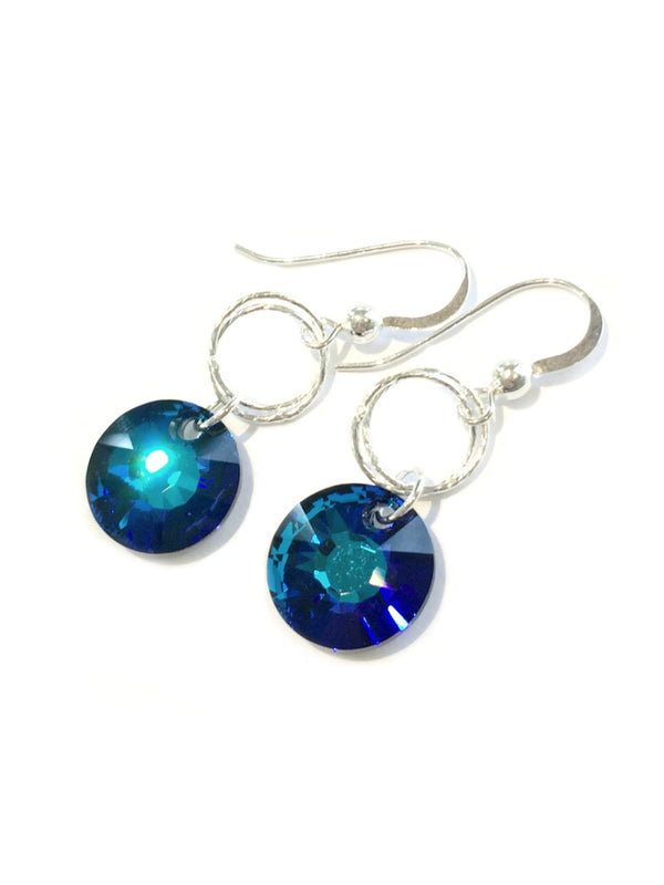 Crystal Disc Dangles Earrings | Sterling Silver USA Made | Light Years