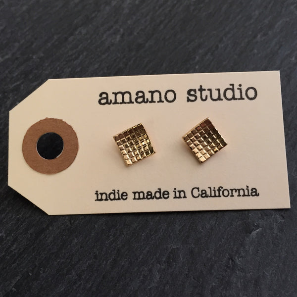 Gold Grid Square Posts, $18 | Stud Earrings | Light Years