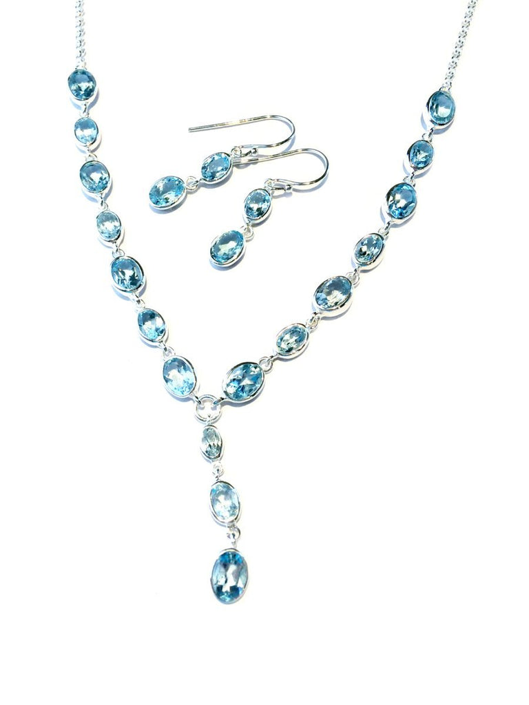 Blue Topaz 2pc Set | Sterling Silver Earrings & Necklace | Light Years