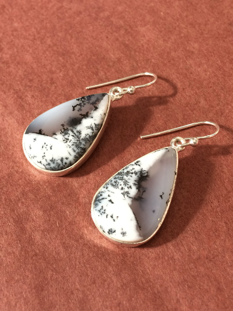 Dendretic Opal Teardrop Dangles | Sterling Silver Earrings | Light Years