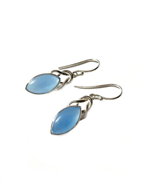 Knotted Gemstone Dangles | Blue Chalcedony | Sterling Silver Earrings | Light Years