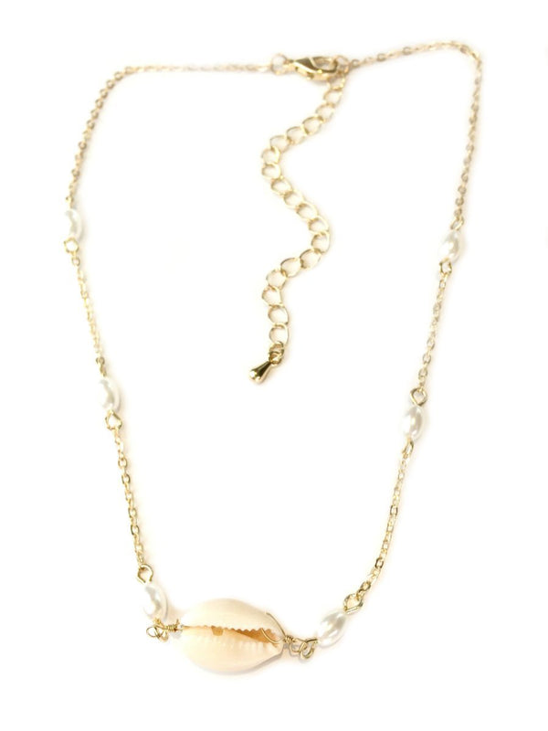 Cowrie Shell & Pearl Choker Necklace | Gold Fashion | Light Years