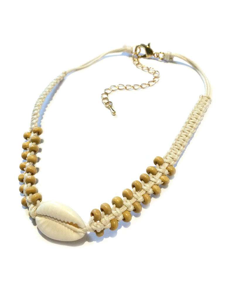 Woven Wood & Cowrie Choker Fashion Necklace | Light Years Jewelry
