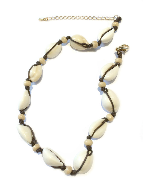Wood & Cowrie Shell Choker Fashion Gold Necklace | Light Years Jewelry