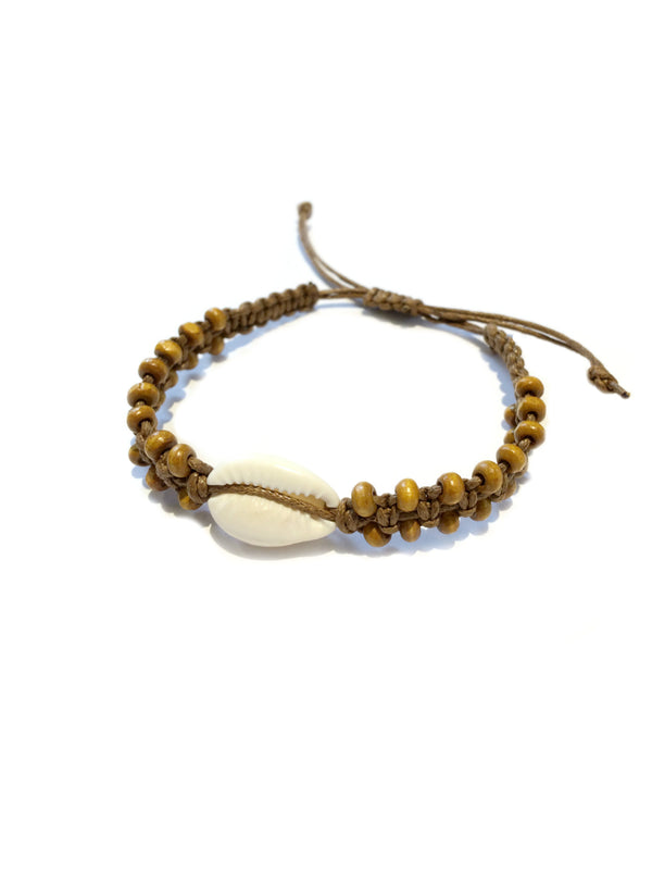 Woven Wood & Cowrie Shell Pull Bracelet | Light Years Jewelry