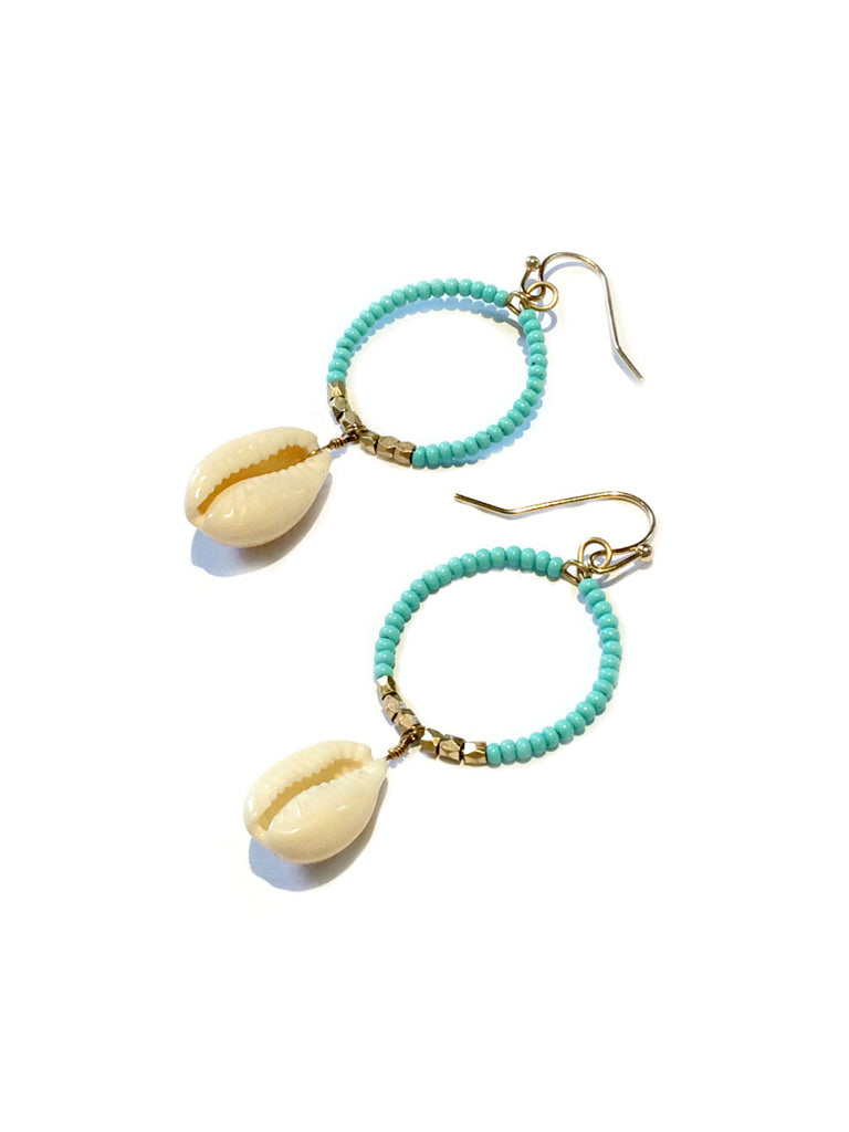 Beaded Cowrie Statement Earrings | Fashion Shell Dangles | Light Years