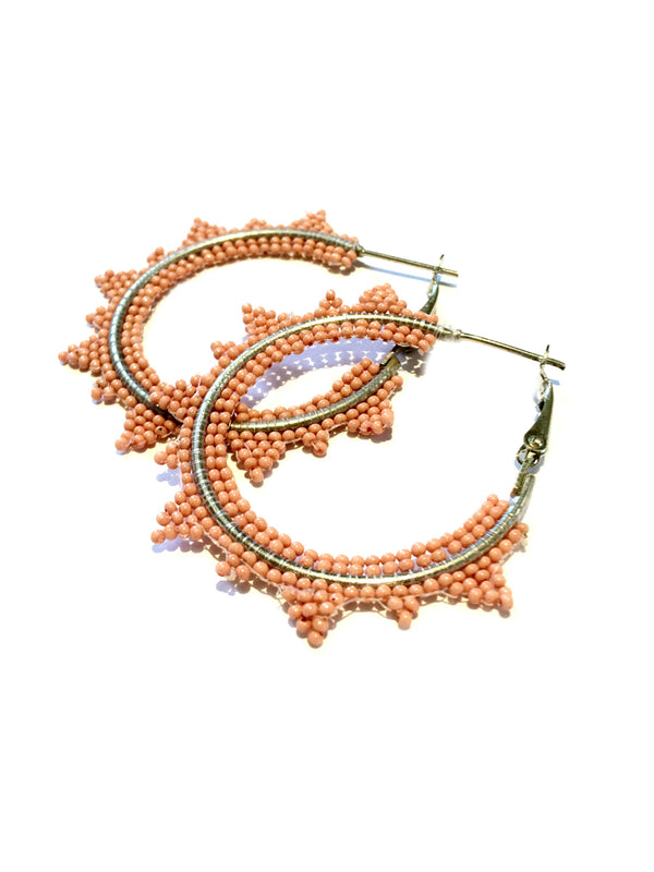 Beaded Sun Hoops | Pink Mint Ivory Fashion Earrings | Light Years