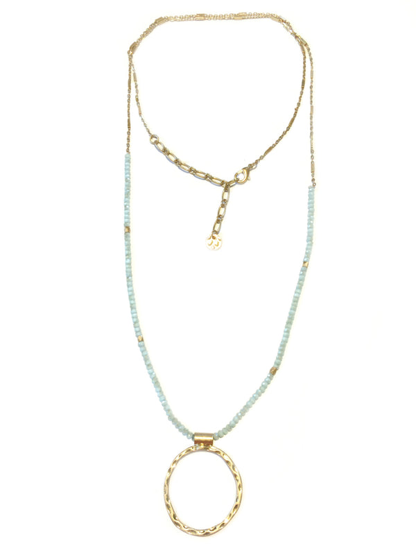 Long Crystal Beaded Necklace | Gold Fashion Pendant | Light Years
