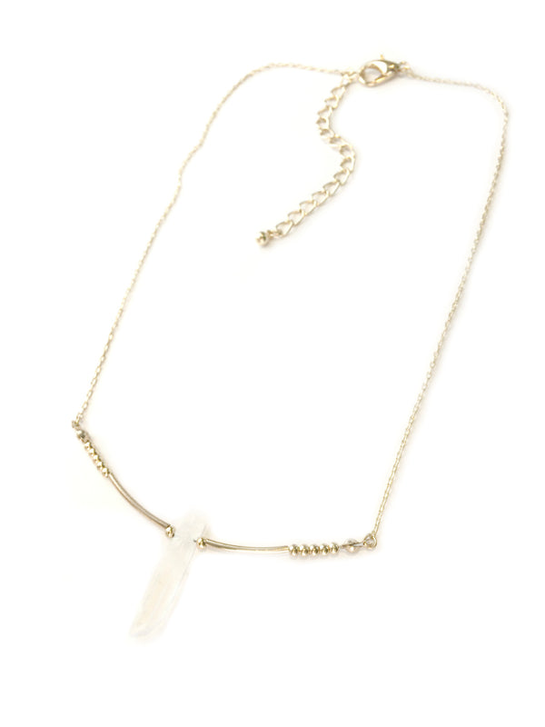 Natural Crystal Bar Necklace | Gold Fashion | Light Years Jewelry